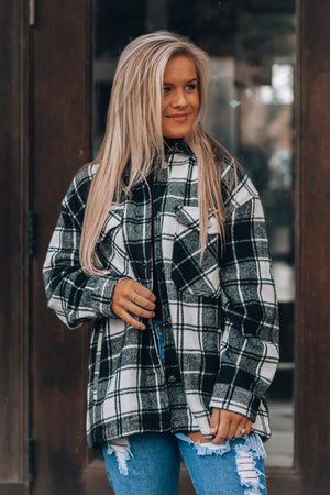 Milo Plaid Utility Jacket (Off White/Black)