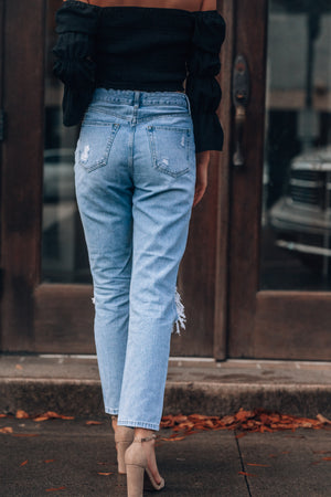 Super Destroyed Girlfriend Jeans (Light Denim)