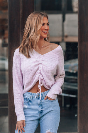 Piece of My Heart Cinch Sweater (Lavender)