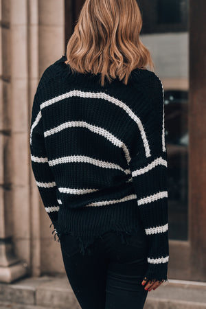 Essex Striped Sweater (Black/White)