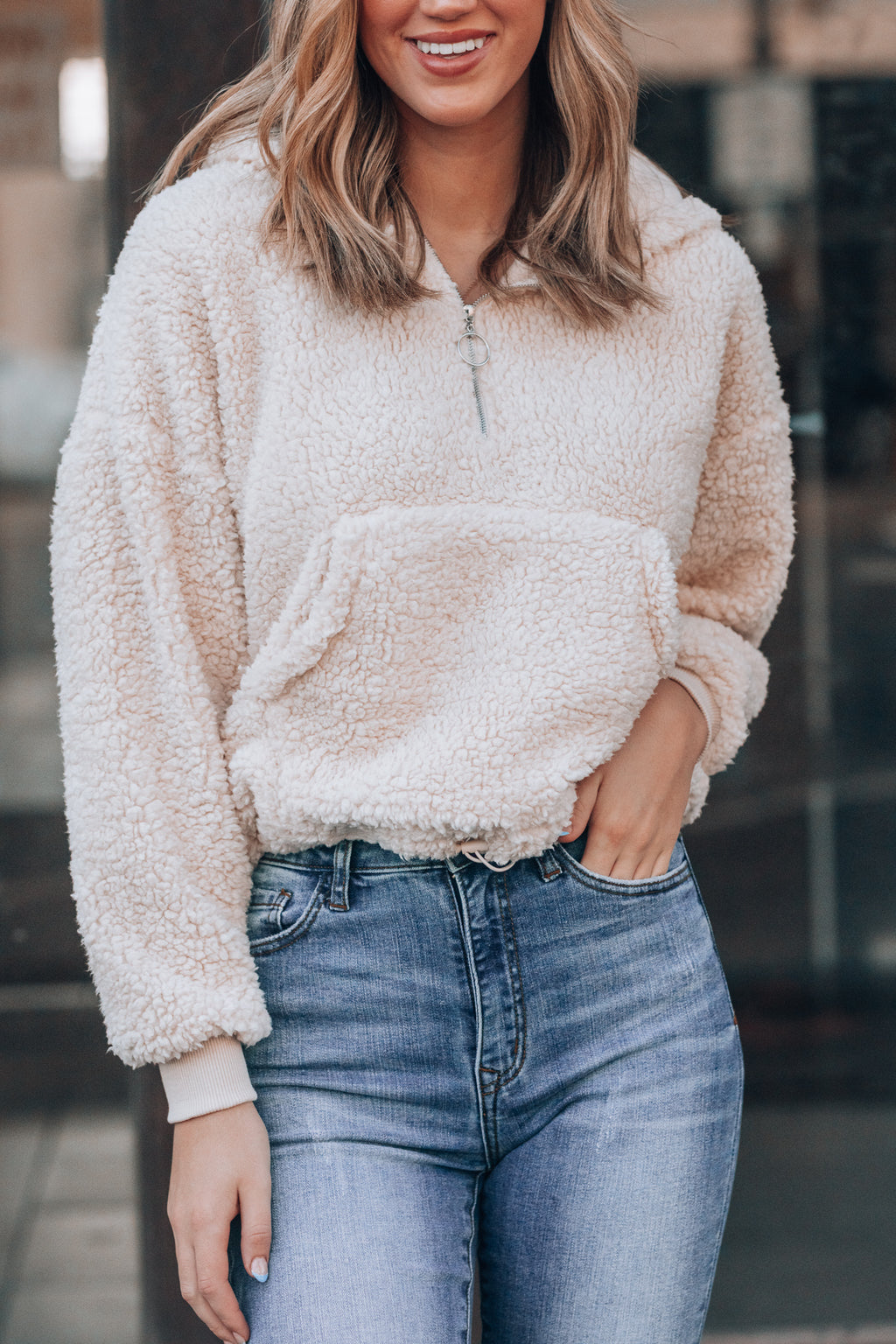 Cute and Cozy Fuzzy Pullover (Cream)