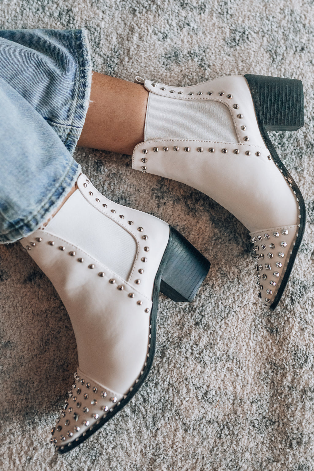 Hendrix Studded Boots (White)