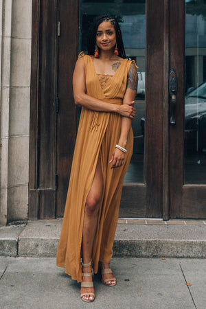 Delphine Maxi Dress Romper (Honey)
