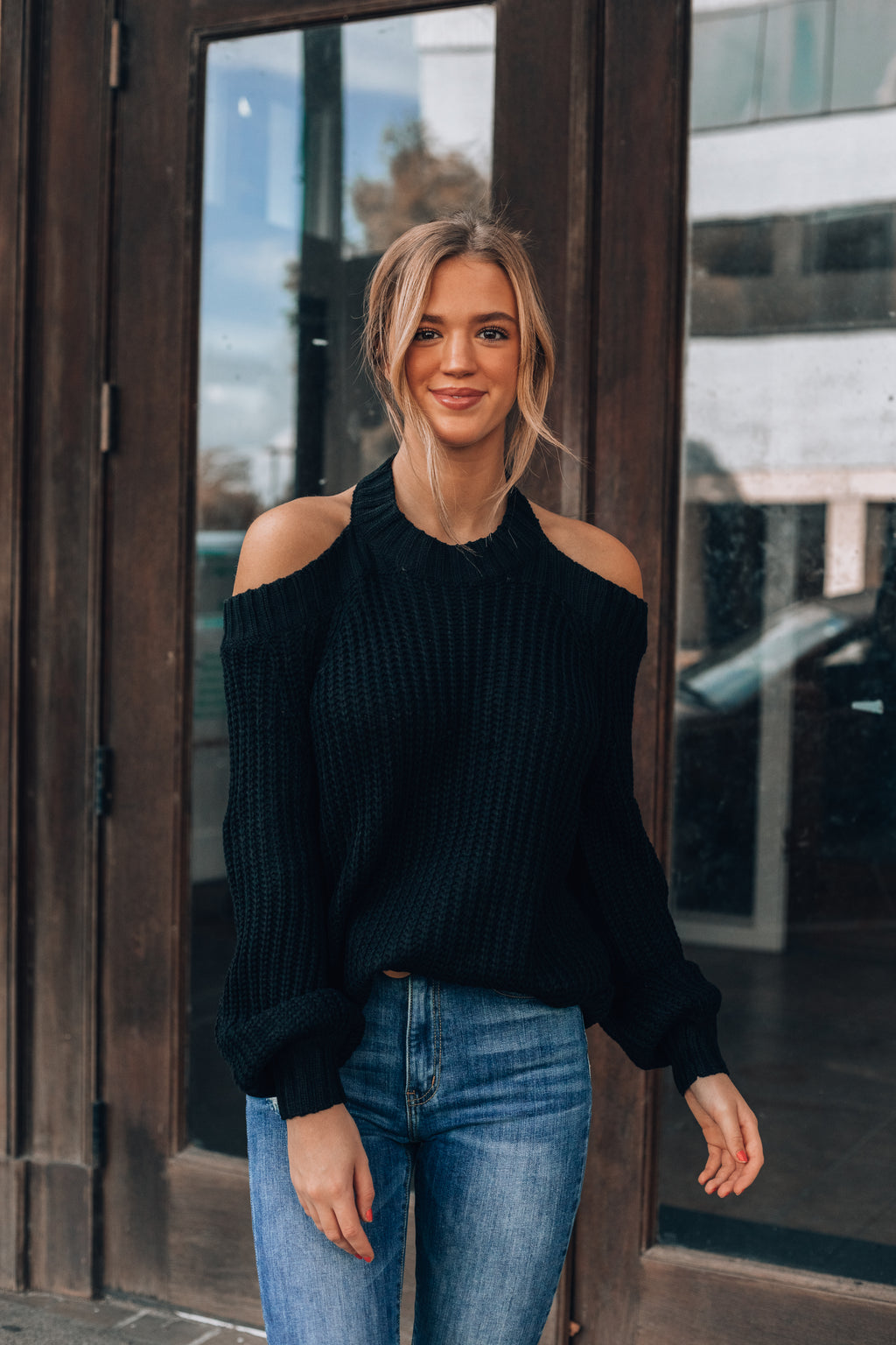 Ashland Cold Shoulder Sweater (Black)