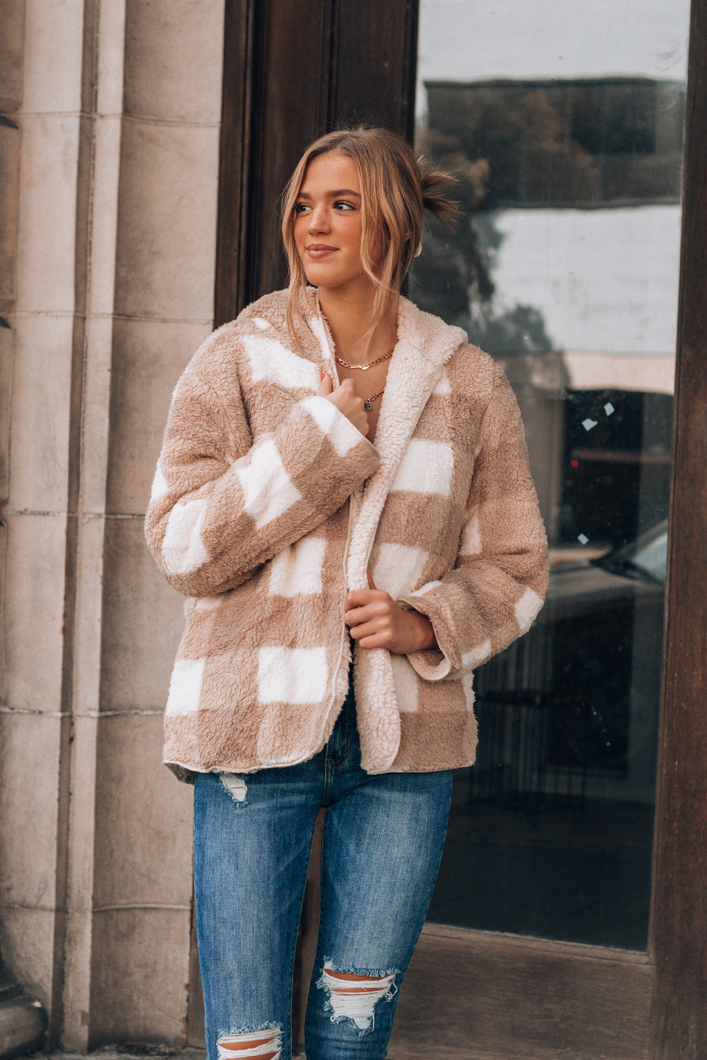 Plaid To Meet You Reversible Sherpa Jacket (Taupe)