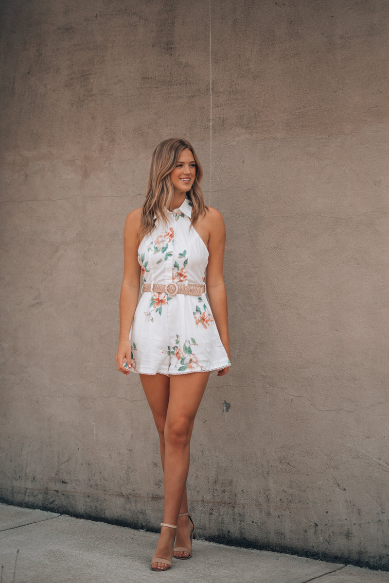 Back In The Day Floral Romper (White)
