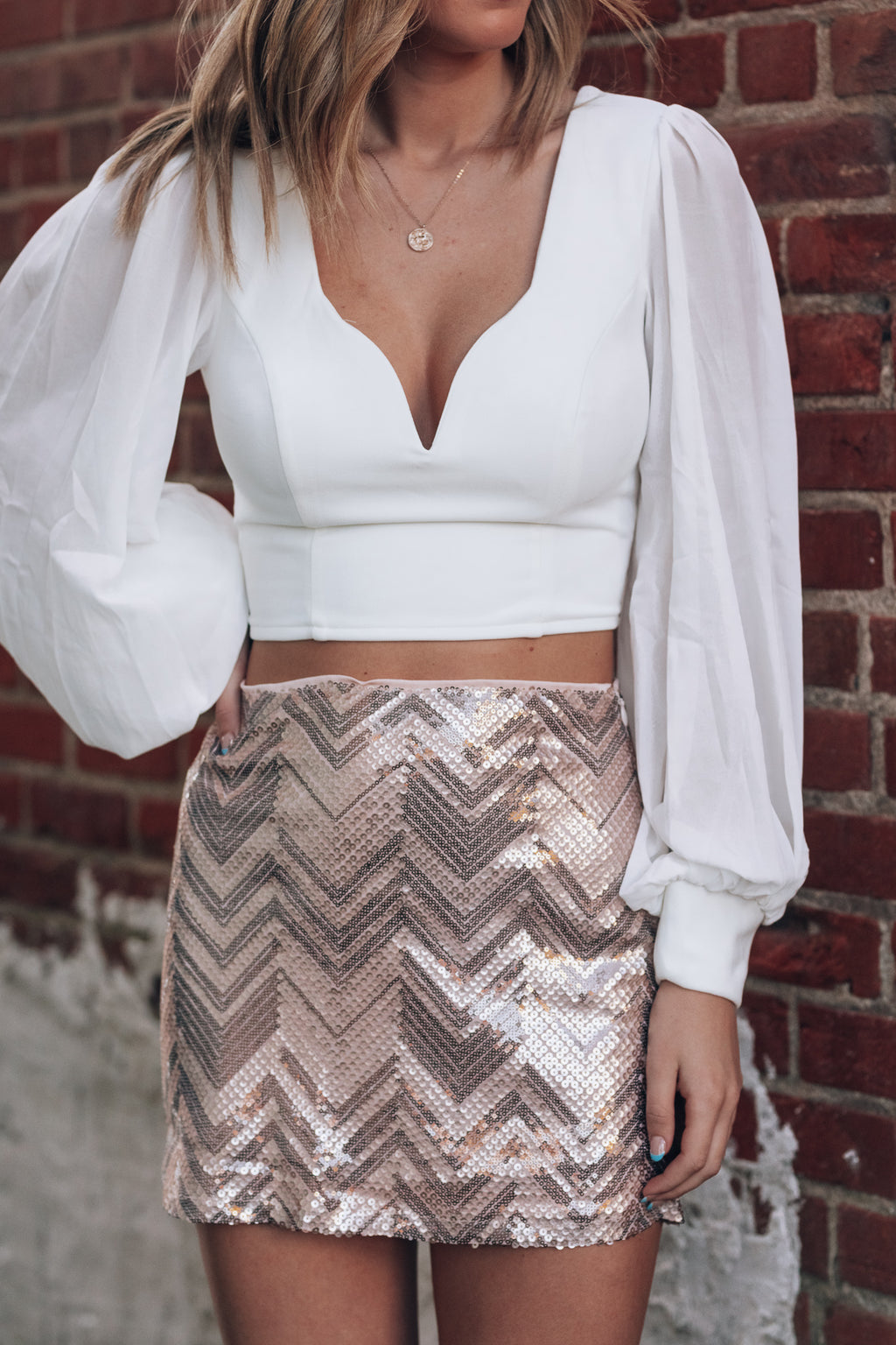 A Night on The Town Sequin Skirt (Rose Gold)