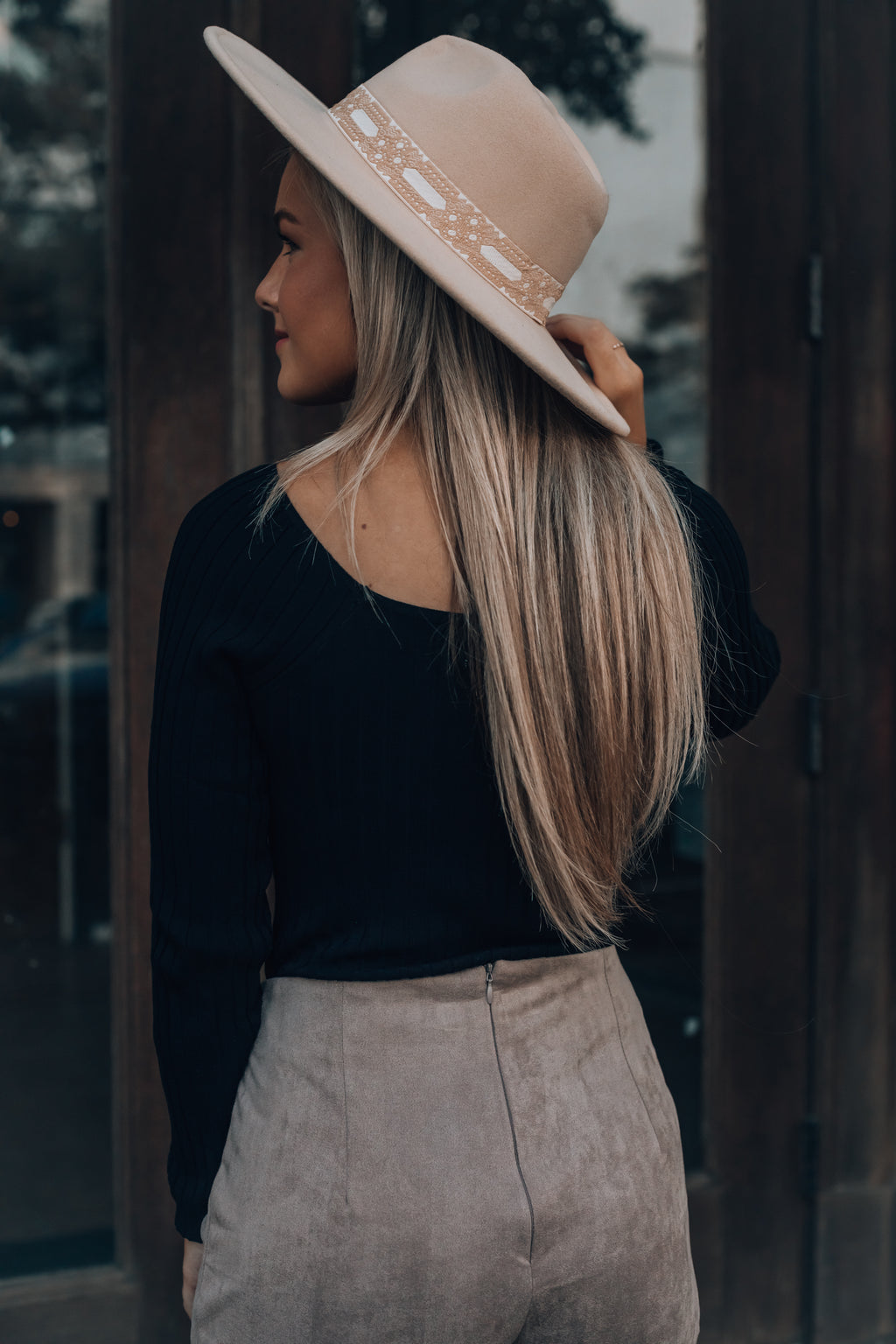 Autumn Days Wide Brim Hat (Beige)