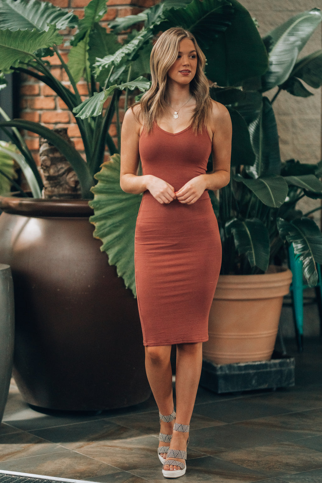 Back To Basics Midi Dress (Brick)