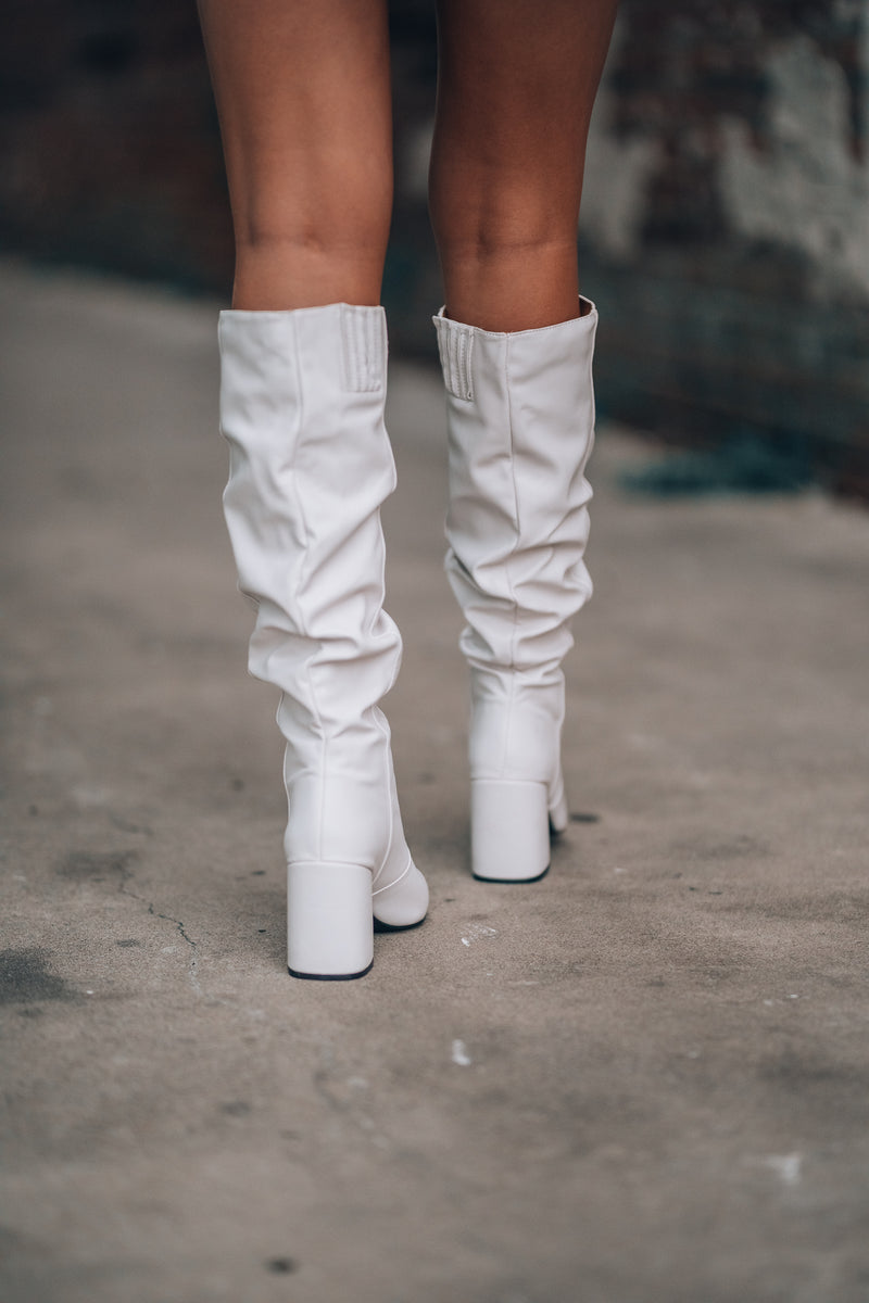 Rumor Knee High Boots (White) - FINAL SALE