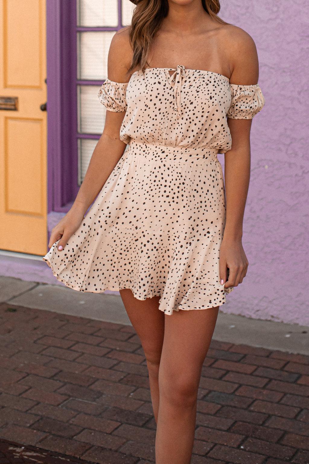 Mila Polka Dot Mini Dress (Cream)