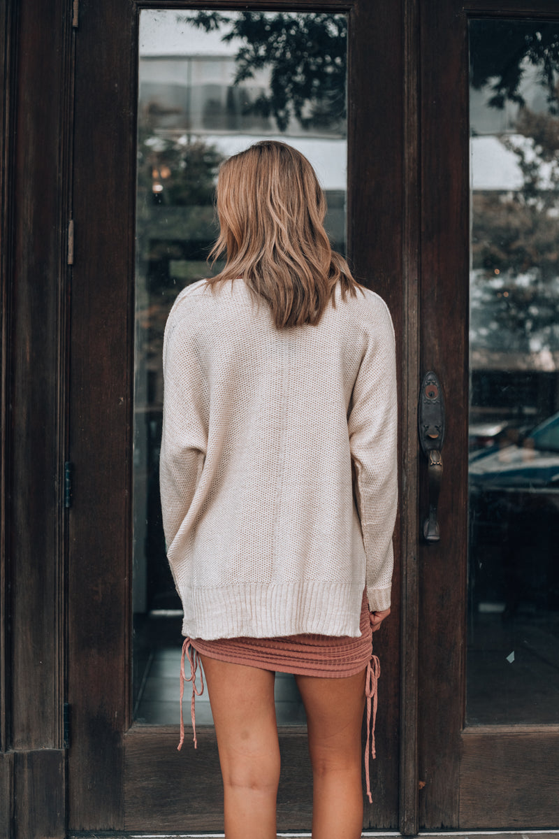 Leisure Time Hi Low Sweater (Off White)