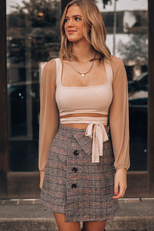 Maya Wrap Crop Top (Mocha)