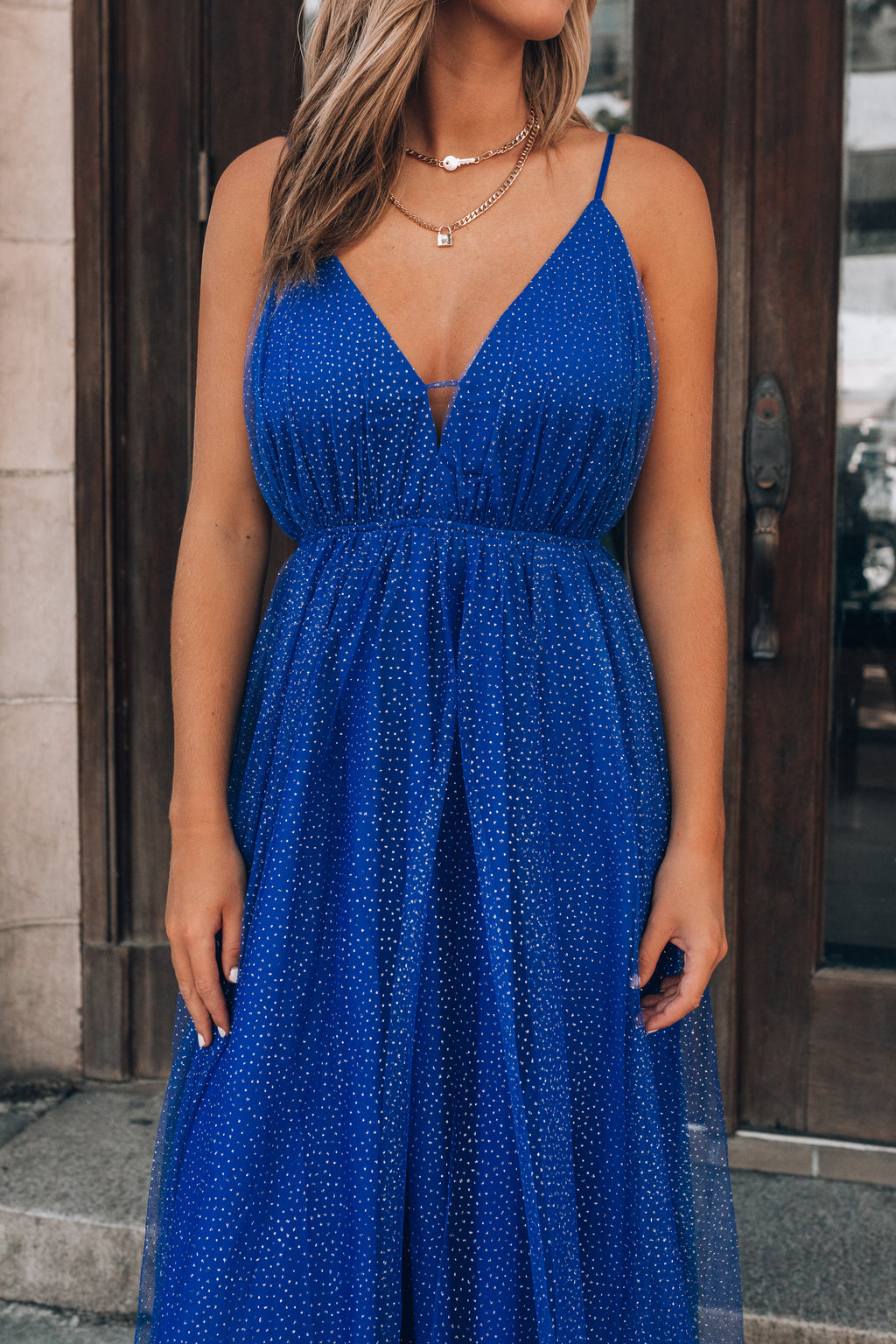 Marisol Glitter Maxi Dress (Royal Blue)
