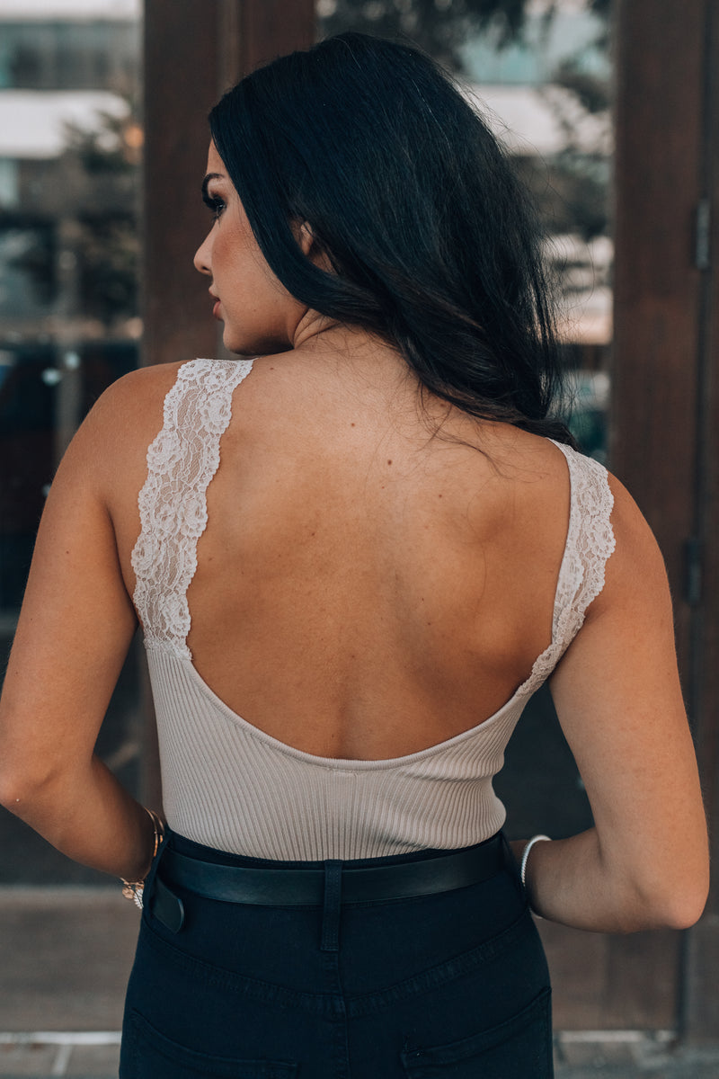 Autumn Lace Trim Bodysuit (Mocha)