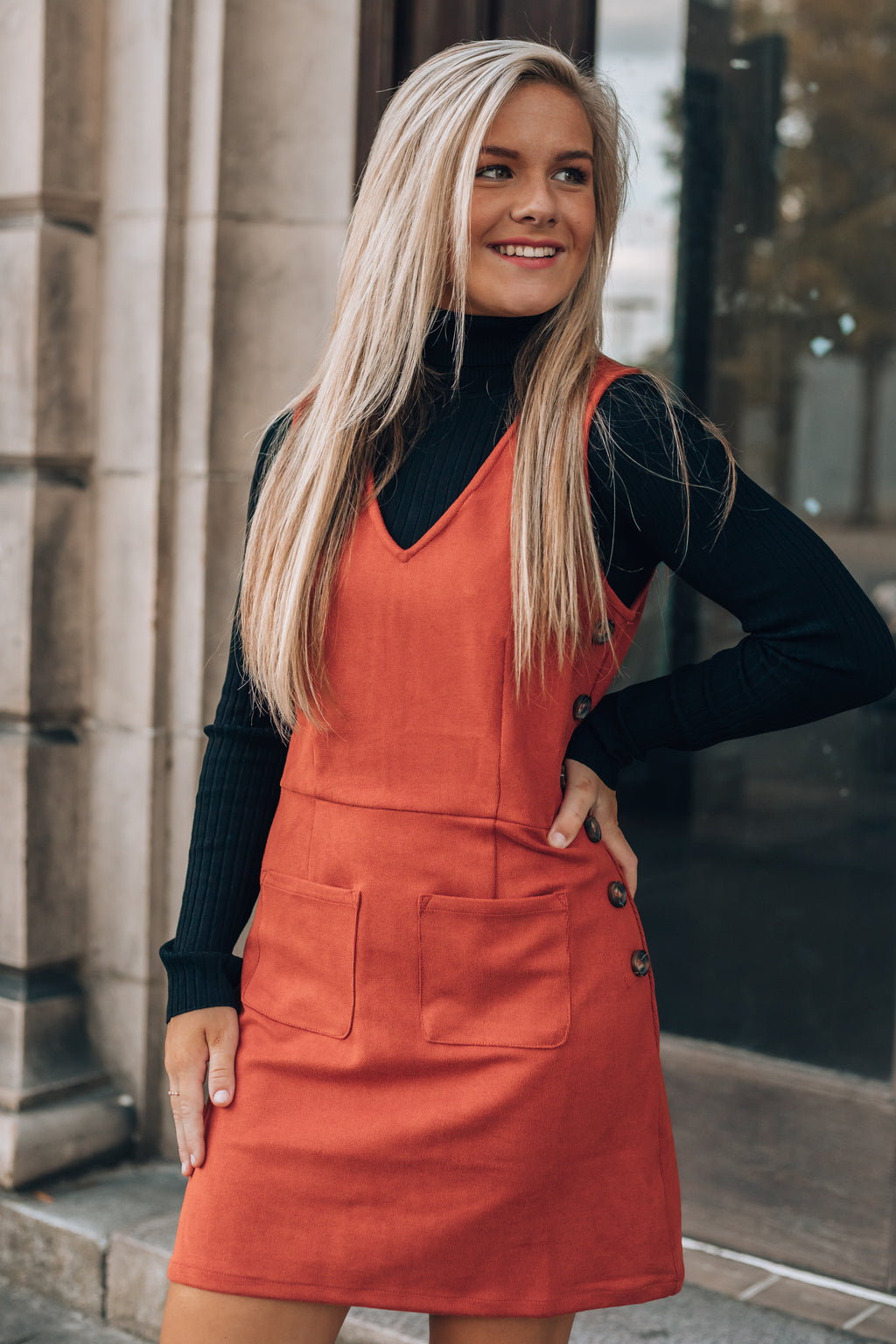 The Coziest Overall Mini Dress (Rust)