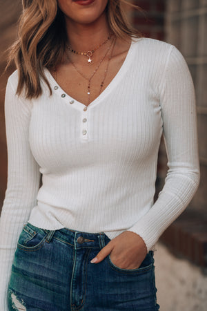 Run To You Ribbed Top (Ivory)