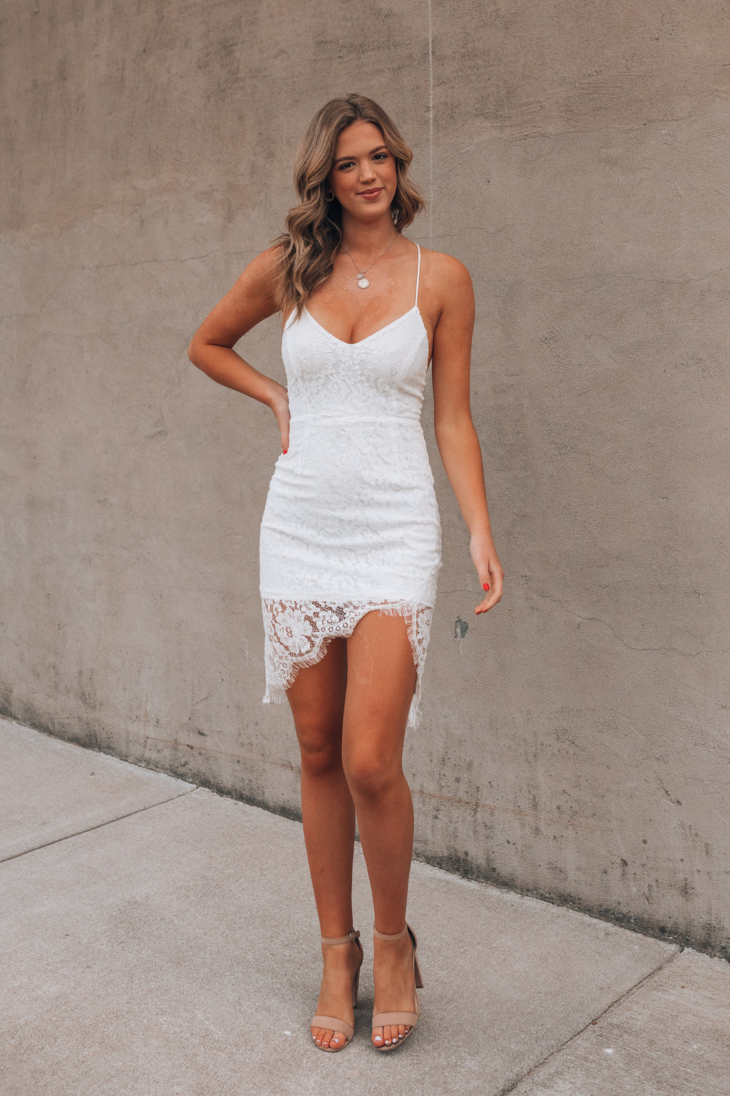 Esmie Lace Mini Dress (Ivory)