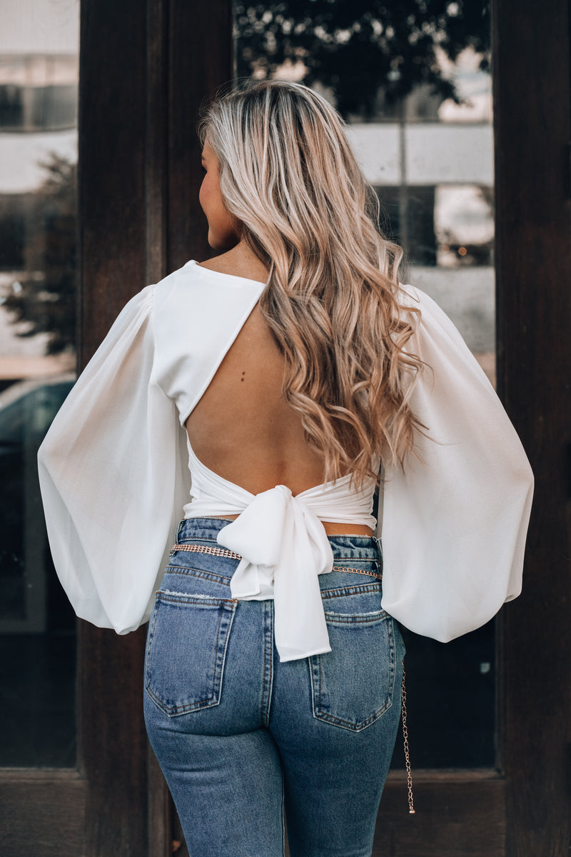 All Night Long Crop Top (White)