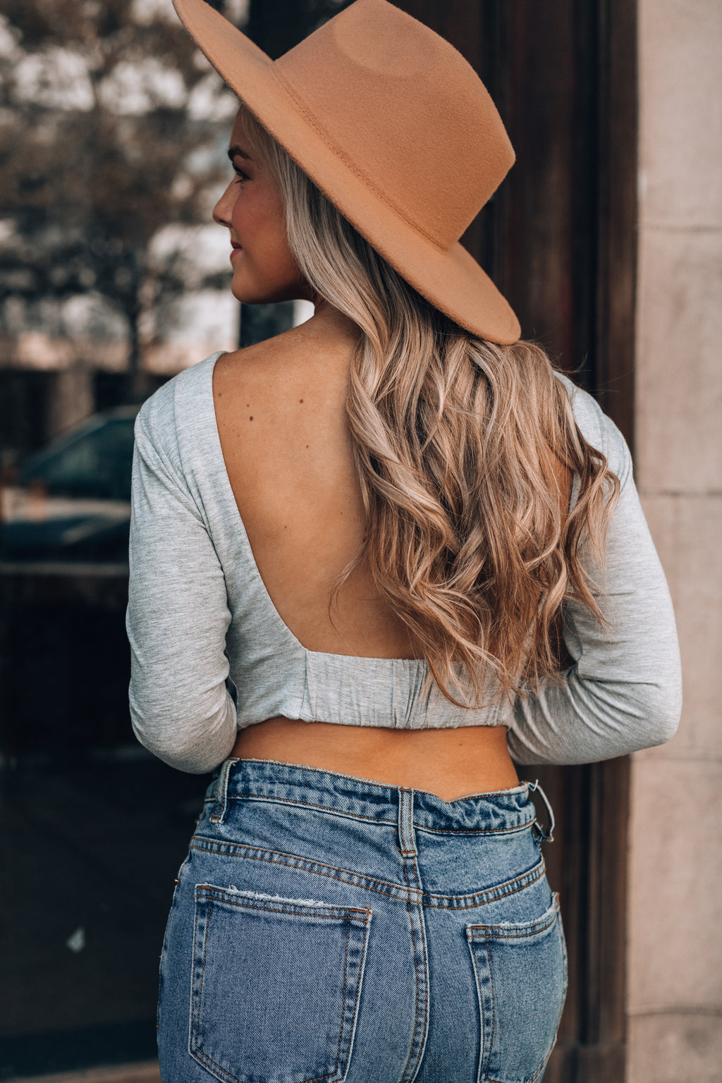 Rule Breaker Backless Top (Heather Grey)