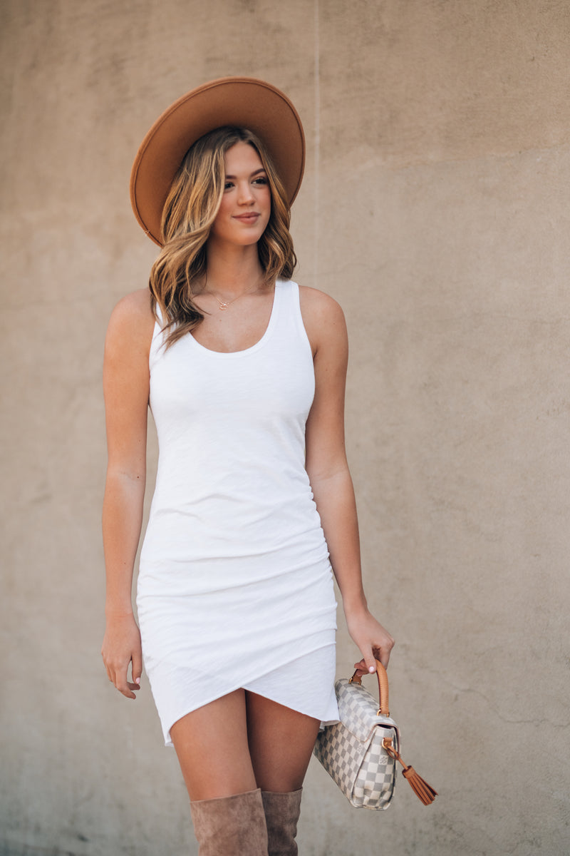 Effortless Ruched Tank Dress (Ivory) - FINAL SALE