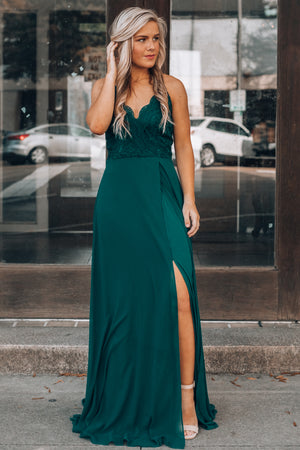 Runaway Lace Maxi Gown (Emerald)
