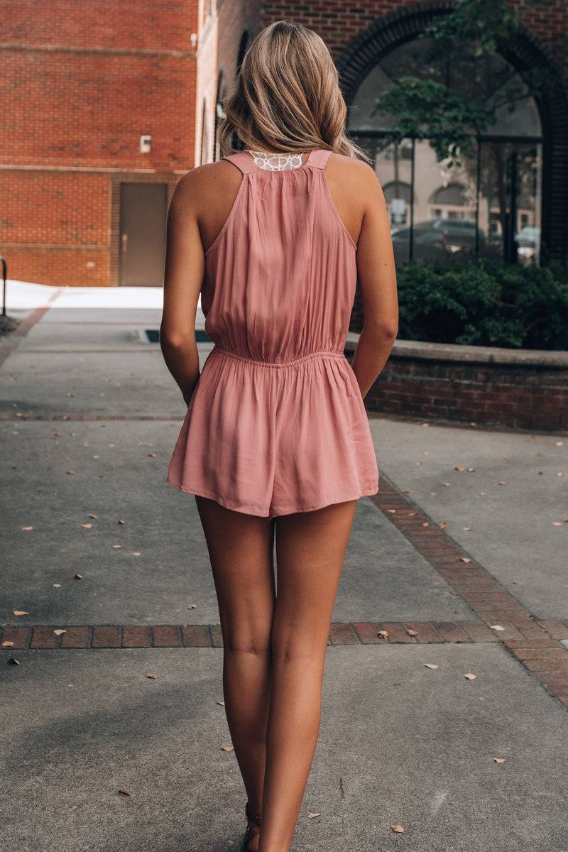 Long Time No Sea Romper (Rose)