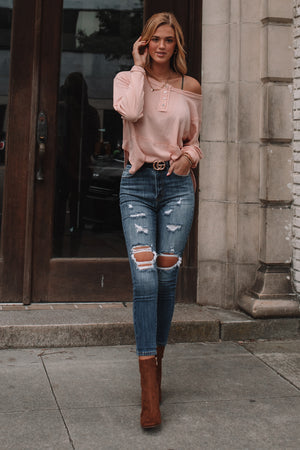 Ivanna Relaxed Henley Top (Pale Pink)