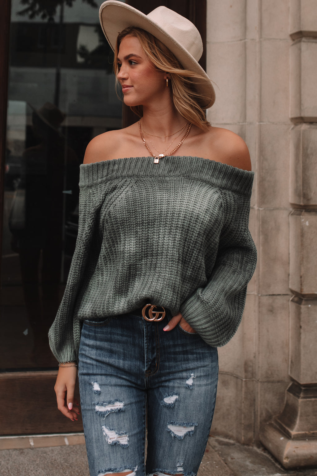 Friday Feeling Off Shoulder Sweater (Green) PRE-ORDER Ships Mid October