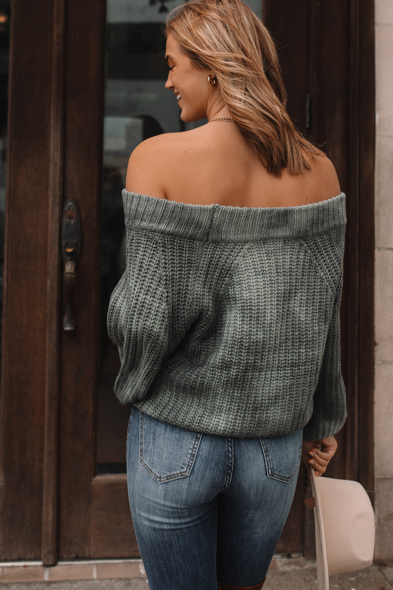 Friday Feeling Off Shoulder Sweater (Green)