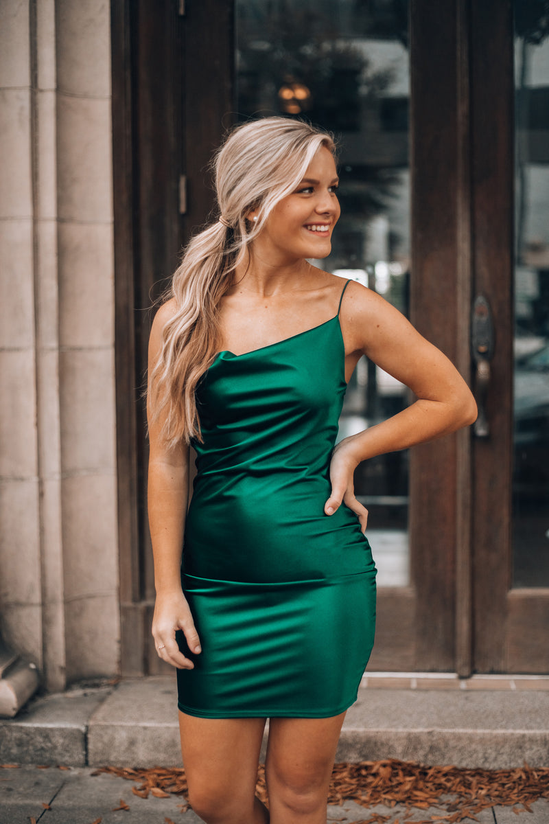 Out For The Night Mini Dress (Hunter Green)
