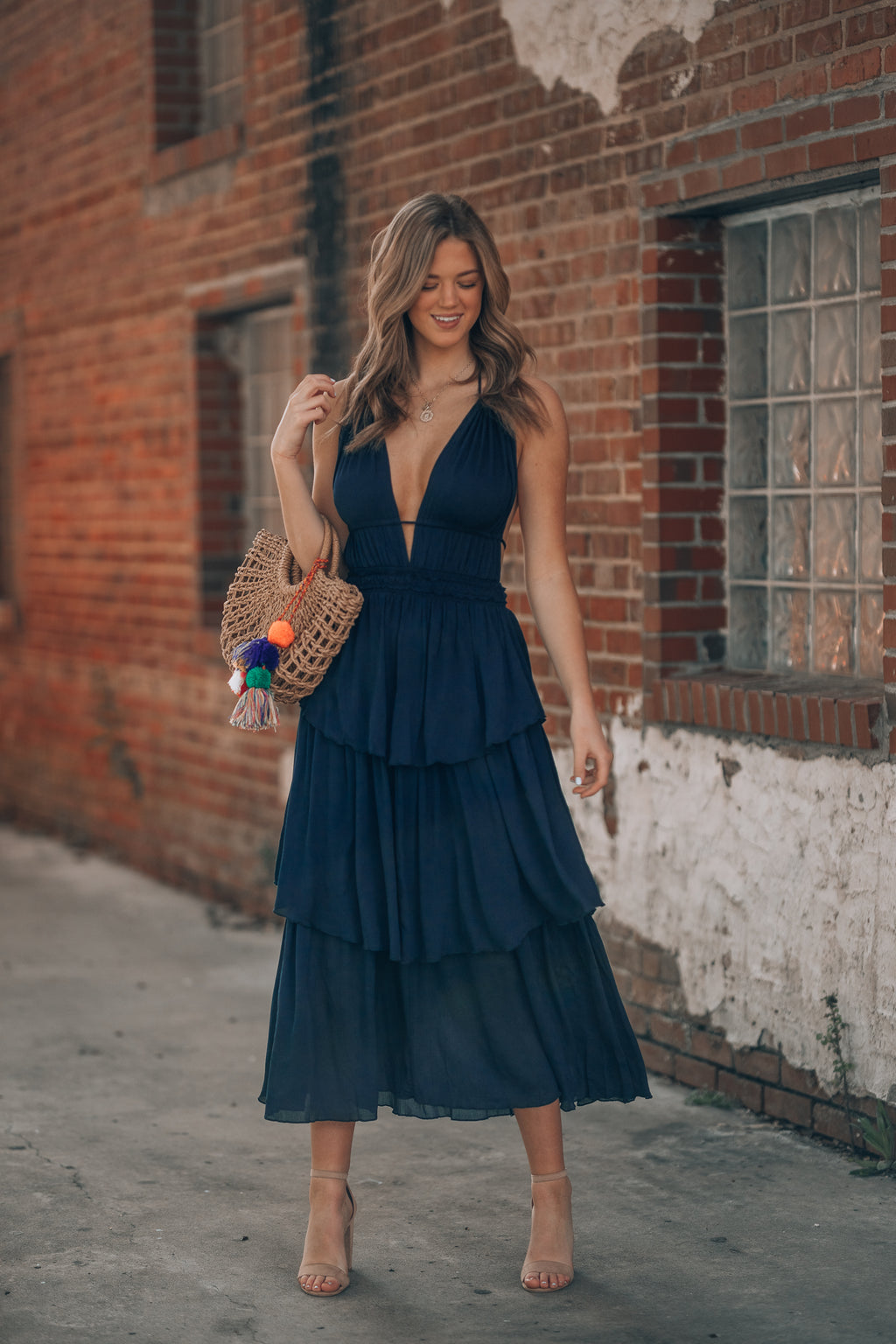 Mesa Tiered Dress (Navy)