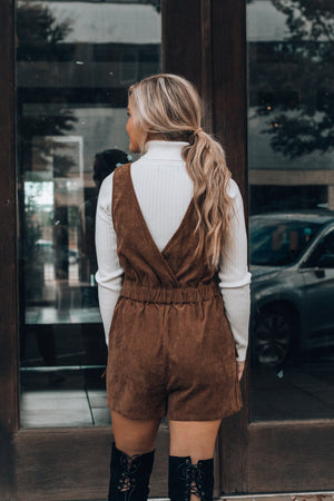 Just Darling Overall Romper (Camel)