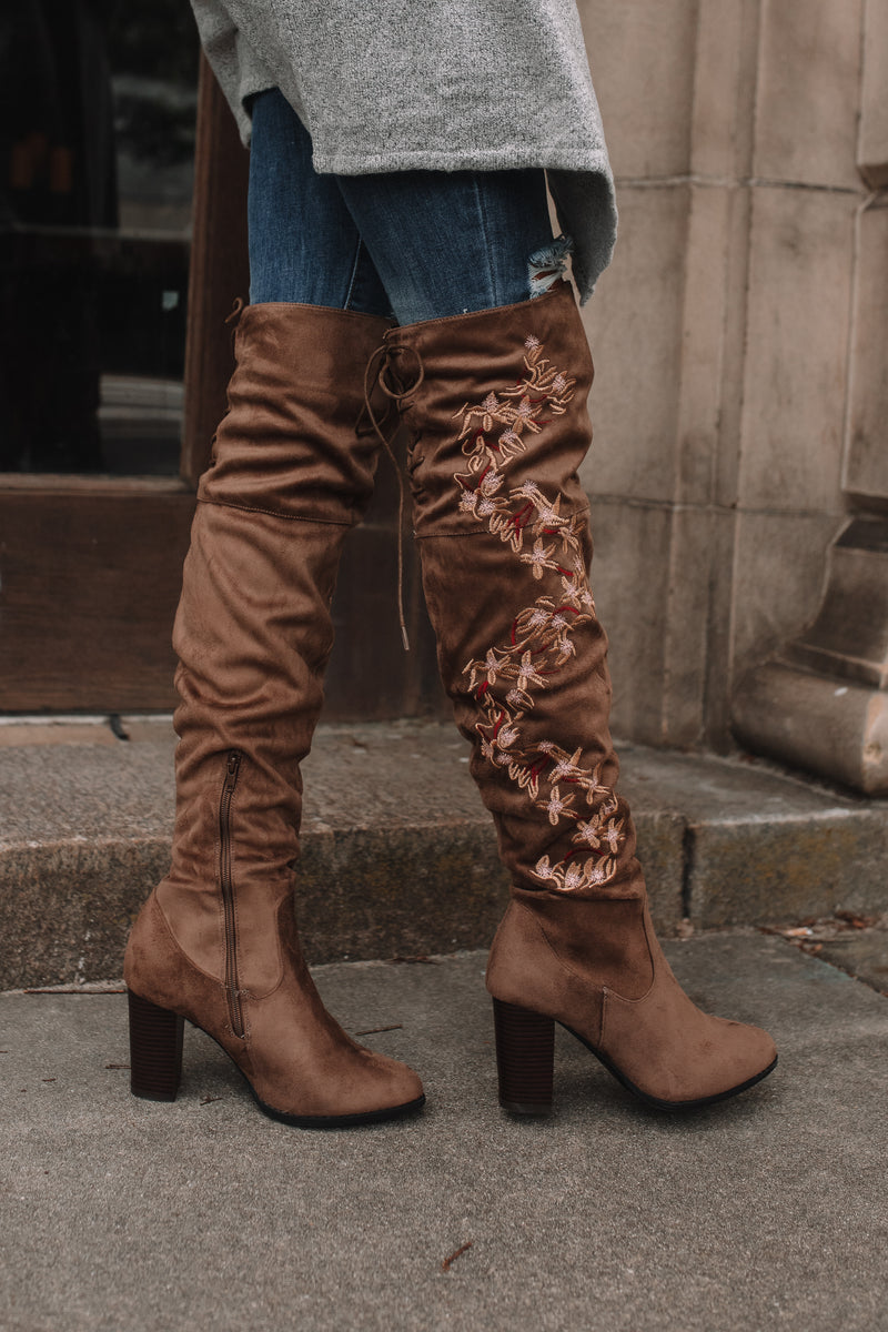Brenna Over-The-Knee Floral Boots (Taupe)