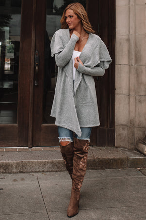 Sasha Mid Length Cardigan (Heather Grey)