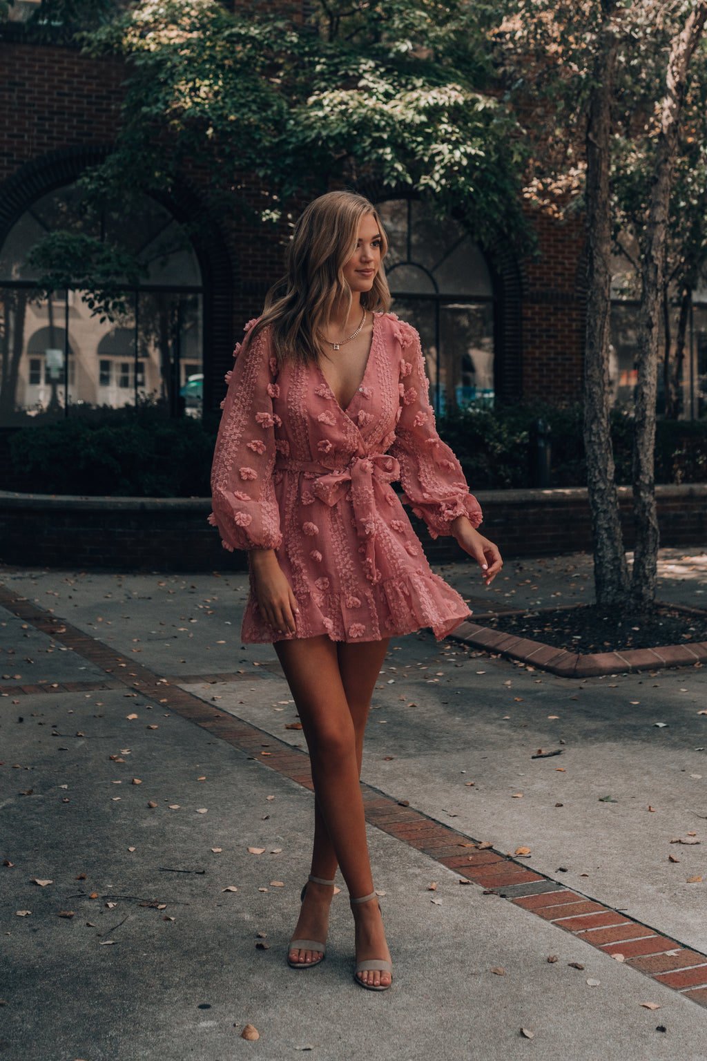 Under The Poms Mini Dress (Rose)