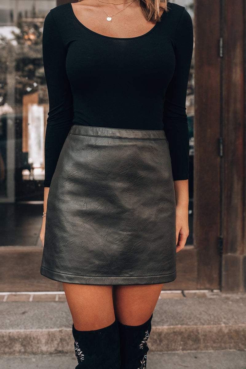 Portland Faux Leather Mini Skirt (Olive)