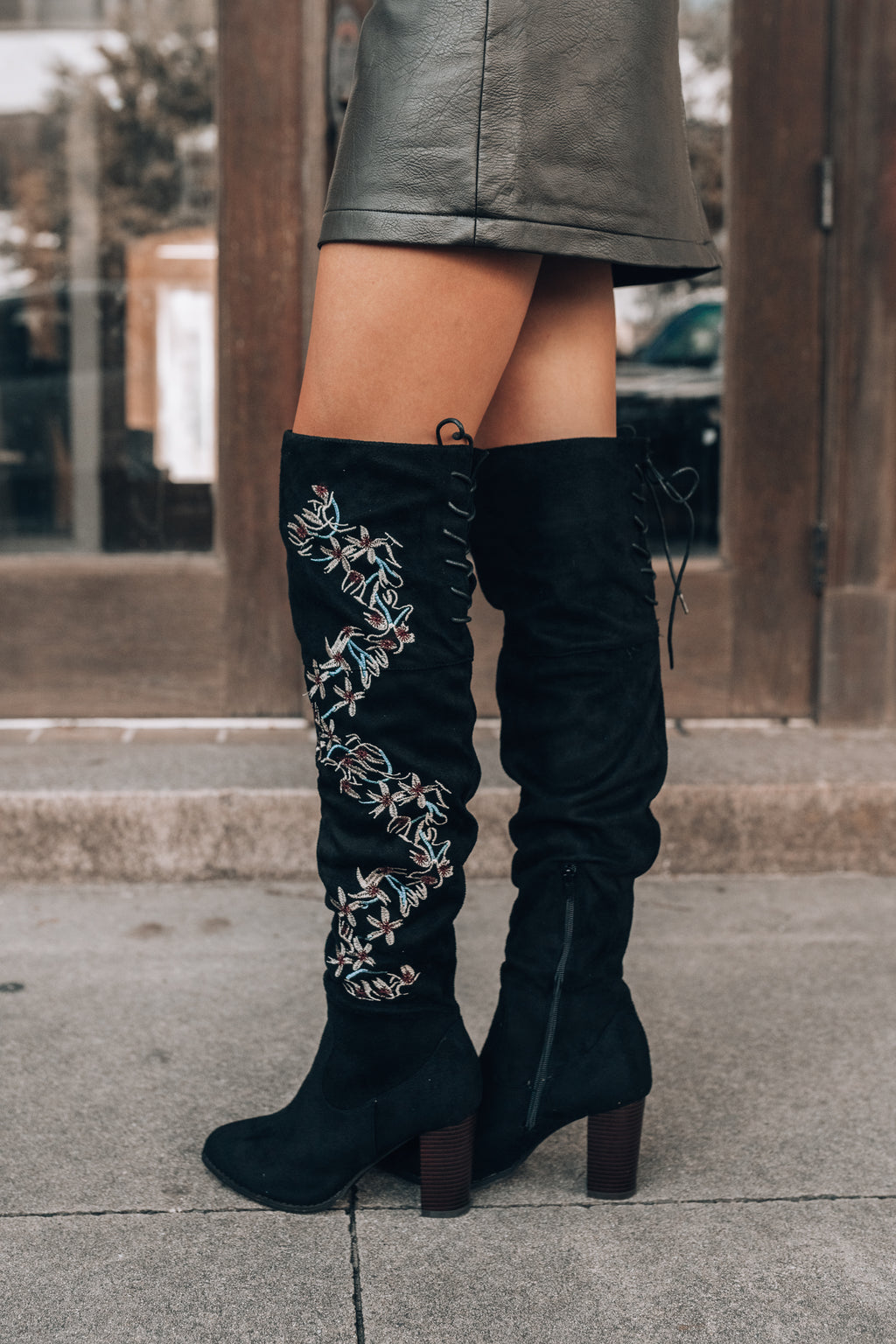 Brenna Over-The-Knee Floral Boots (Black)