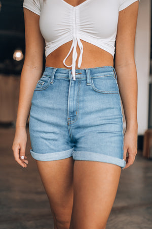 Roll With It Denim Shorts (Light Wash)