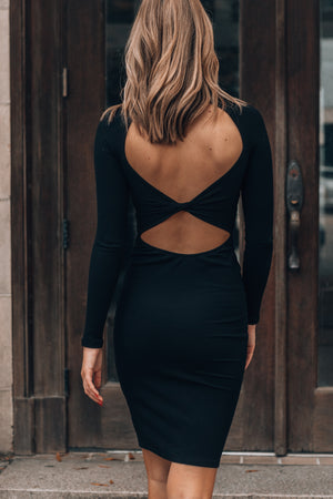 With A Twist Ribbed Mini Dress (Black)