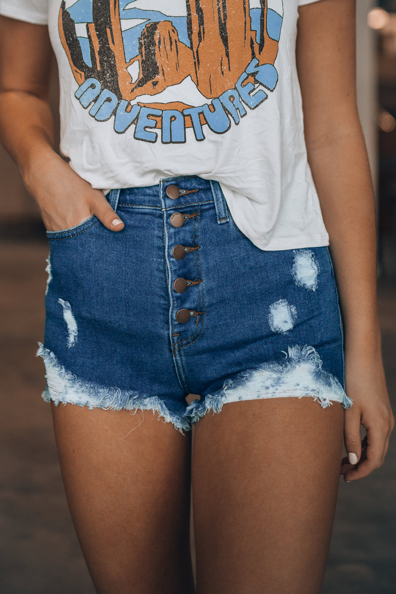 Oakland Distressed Shorts (Dark Wash)