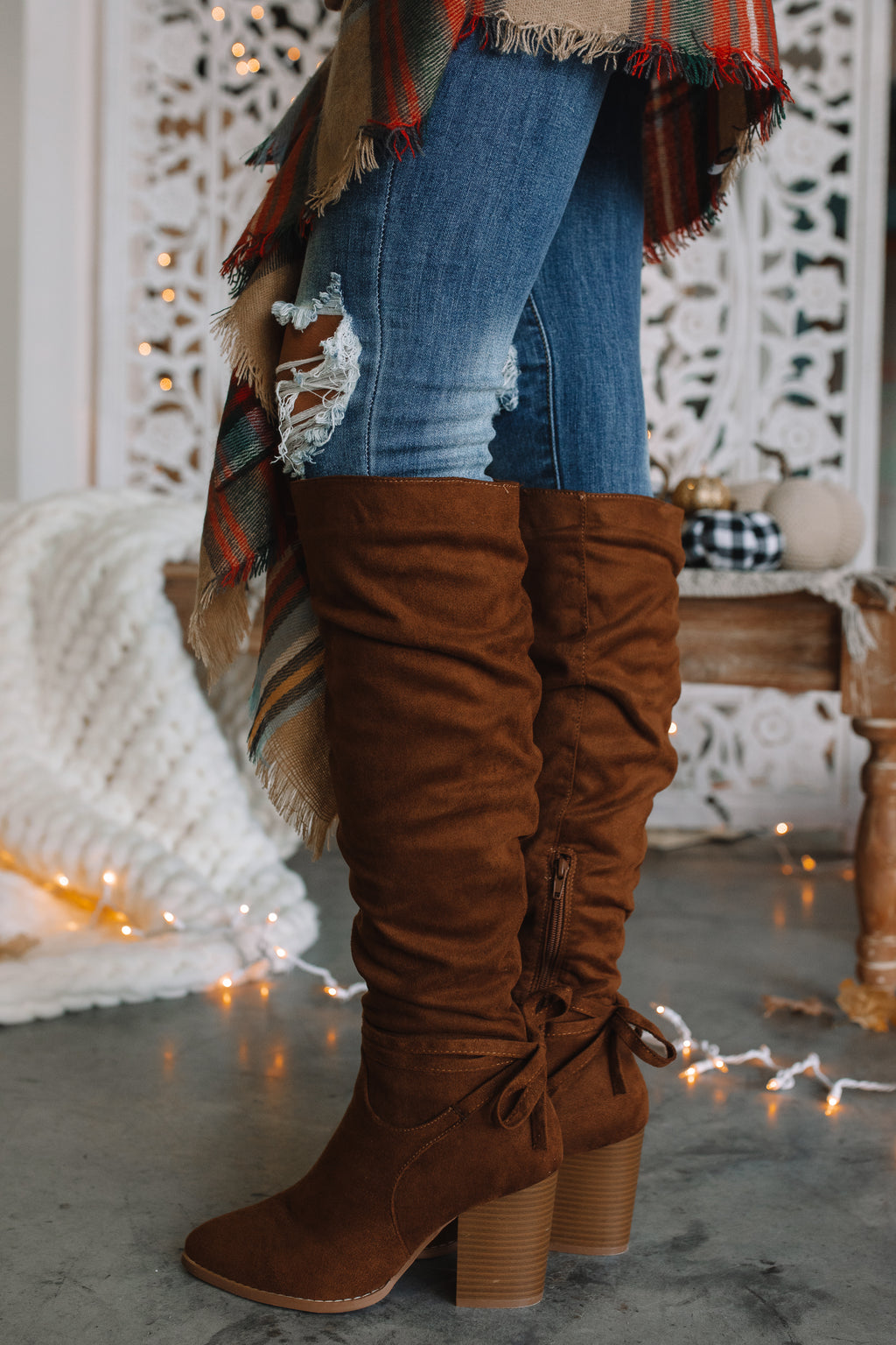 Ashlee Tie Boots (Tan)