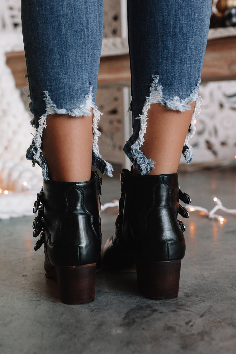 Tara Buckle Booties (Black)
