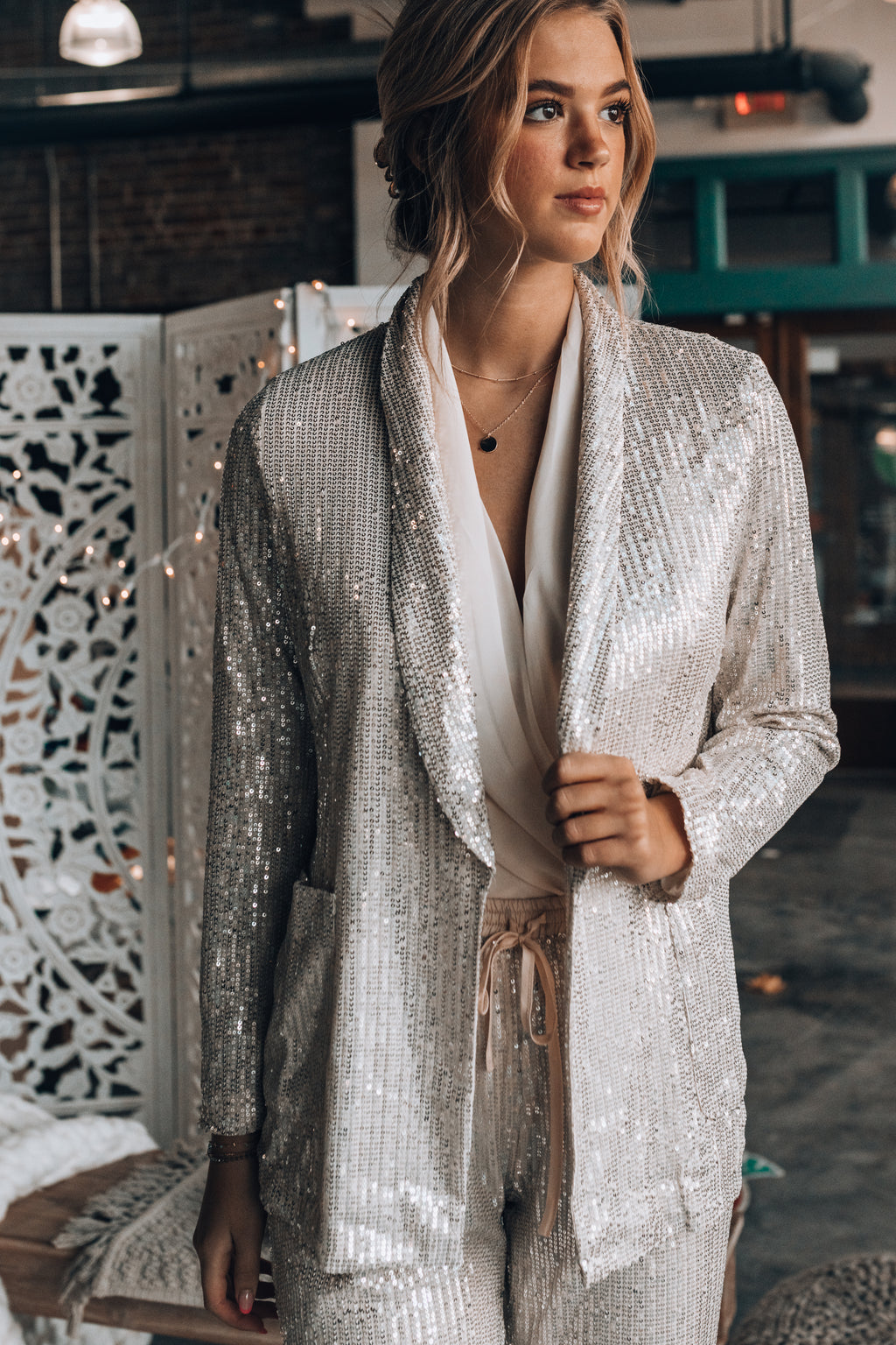 Hollywood Sequin Blazer (Champagne)
