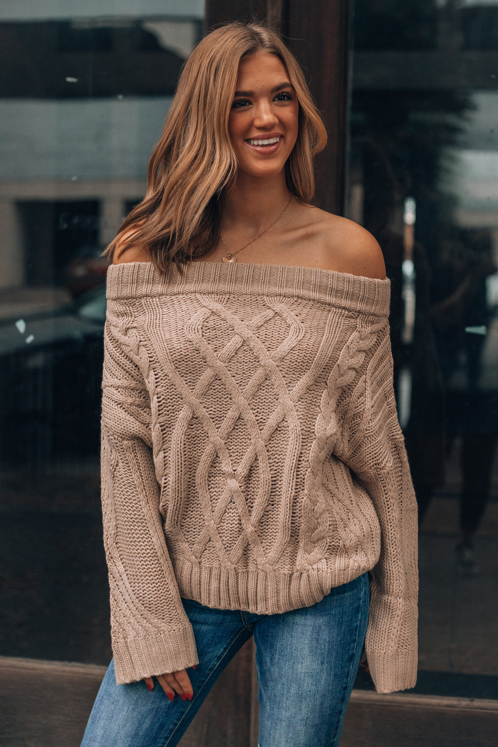 Meant To Be Cable Knit Sweater (Taupe)