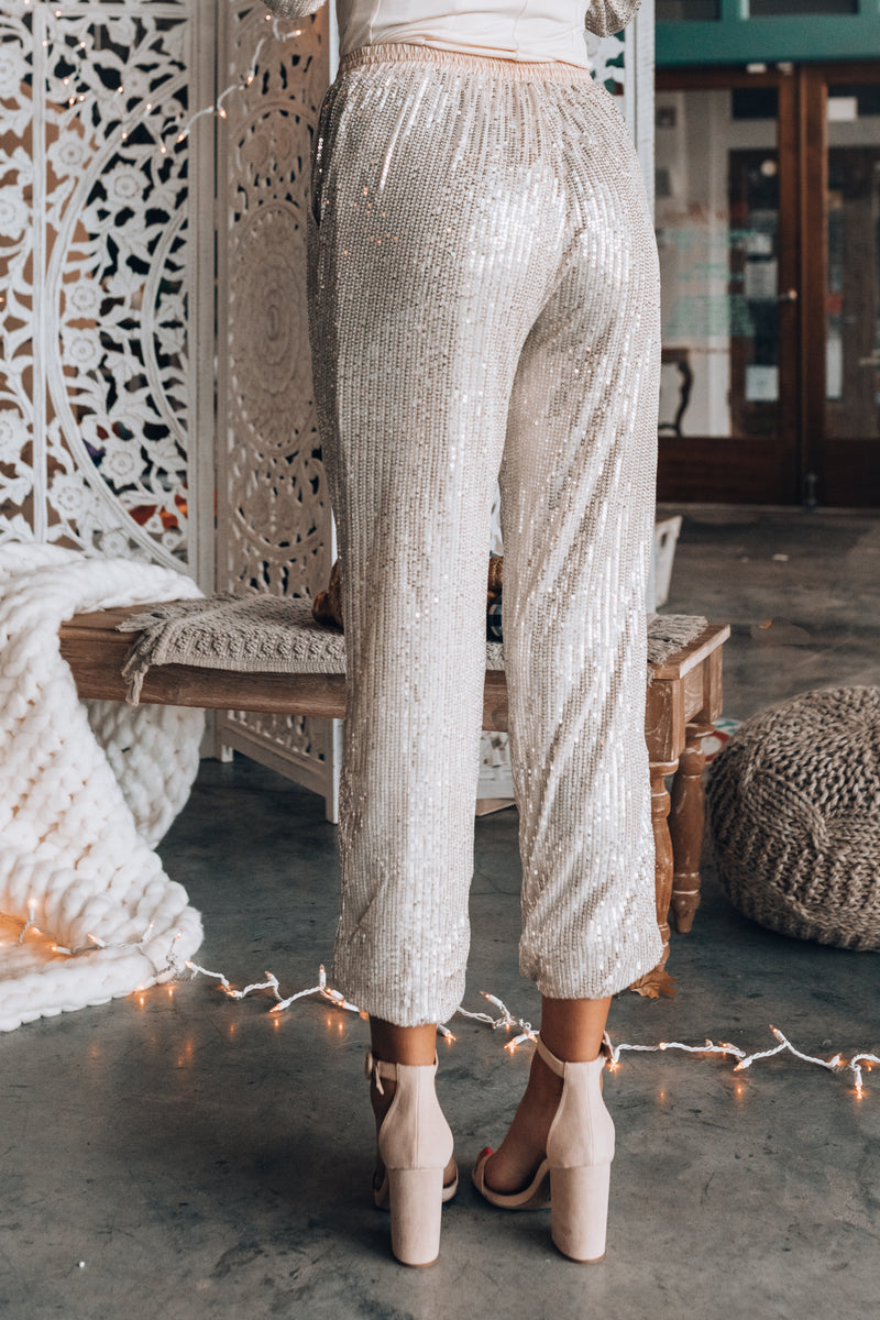 Hollywood Sequin Joggers (Champagne)
