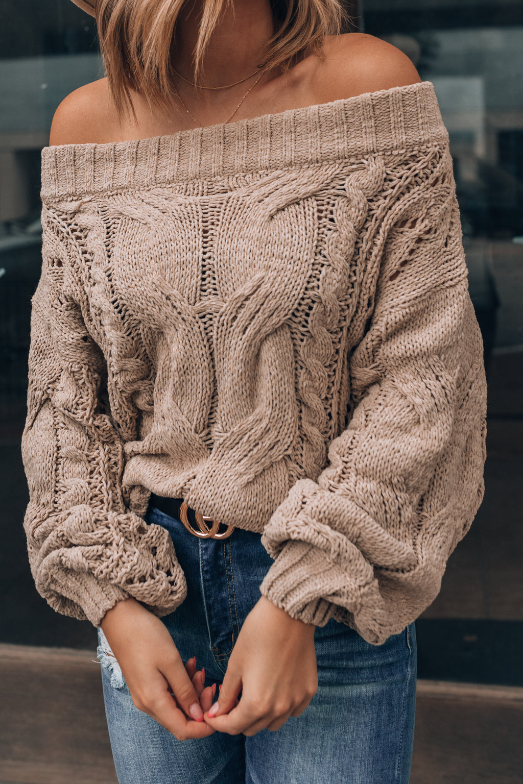 Canyon Off Shoulder Knit Sweater PRE-ORDER Ships Early October