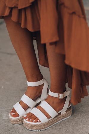 Double The Fun Platform Sandals (White) - FINAL SALE