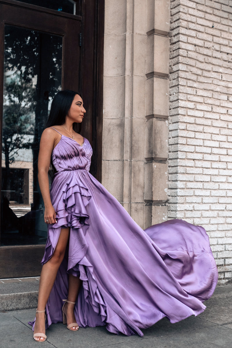 Under The Stars Satin Gown (Lilac)