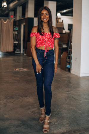 Angelica Cinch Floral Top (Red)